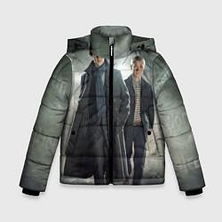 Куртка зимняя для мальчика Шерлок и Доктор цвета 3D-черный — фото 1