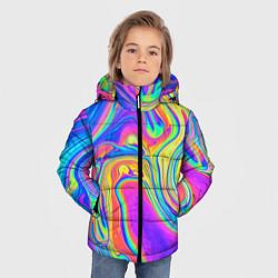 Детская зимняя куртка для мальчика с принтом Цветные разводы, цвет: 3D-черный, артикул: 10086773306063 — фото 2