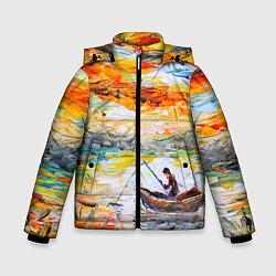 Куртка зимняя для мальчика Рыбак на лодке цвета 3D-черный — фото 1
