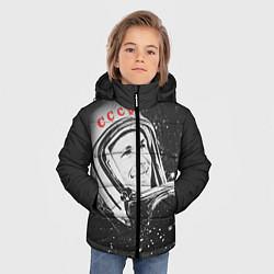 Куртка зимняя для мальчика Гагарин в космосе цвета 3D-черный — фото 2