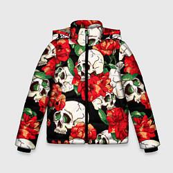 Куртка зимняя для мальчика Черепки и розы цвета 3D-черный — фото 1