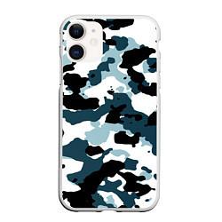 Чехол iPhone 11 матовый Камуфляж зимний: пятна цвета 3D-белый — фото 1