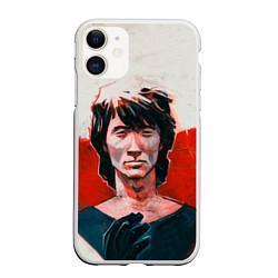 Чехол iPhone 11 матовый Молодой Цой цвета 3D-белый — фото 1