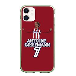 Чехол iPhone 11 матовый Antoine Griezmann 7 цвета 3D-салатовый — фото 1