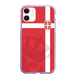 Чехол iPhone 11 матовый Сборная Сербии цвета 3D-светло-сиреневый — фото 1
