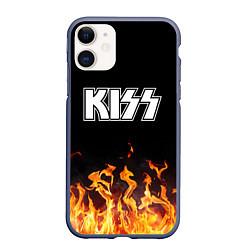 Чехол iPhone 11 матовый Kiss: Hell Flame цвета 3D-серый — фото 1