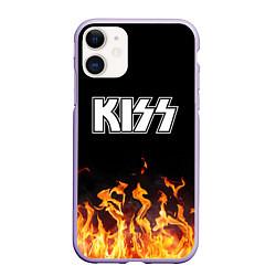 Чехол iPhone 11 матовый Kiss: Hell Flame цвета 3D-светло-сиреневый — фото 1