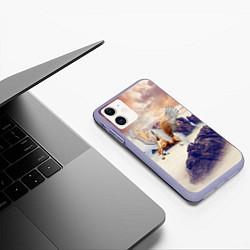 Чехол iPhone 11 матовый Sea Sunset Horse цвета 3D-светло-сиреневый — фото 2