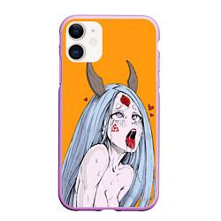 Чехол iPhone 11 матовый Ahegao Kaguya цвета 3D-сиреневый — фото 1