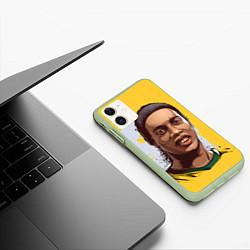Чехол iPhone 11 матовый Ronaldinho Art цвета 3D-салатовый — фото 2