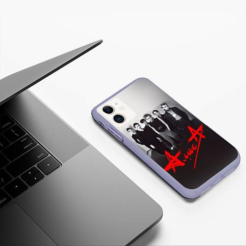 Чехол iPhone 11 матовый АлисА: Трасса E95 / 3D-Светло-сиреневый – фото 3