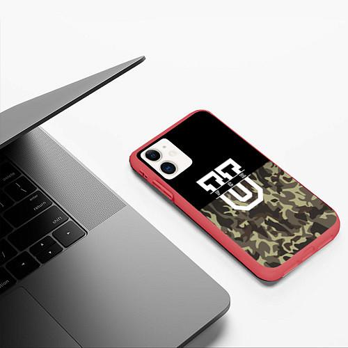 Чехол iPhone 11 матовый FCK U: Camo / 3D-Красный – фото 3