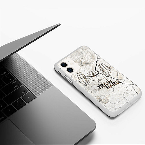 Чехол iPhone 11 матовый Train hard / 3D-Белый – фото 3