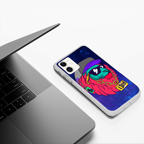 Чехол iPhone 11 матовый Лев SWAG / 3D-Белый – фото 3