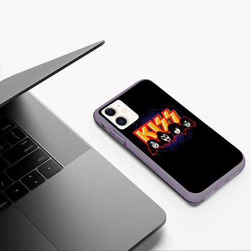 Чехол iPhone 11 матовый KISS: Death Faces / 3D-Серый – фото 3