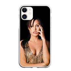 Чехол iPhone 11 матовый Angelina Jolie цвета 3D-белый — фото 1