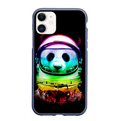 Чехол iPhone 11 матовый Панда космонавт цвета 3D-серый — фото 1