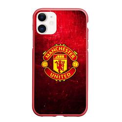 Чехол iPhone 11 матовый Манчестер Юнайтед цвета 3D-красный — фото 1