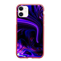 Чехол iPhone 11 матовый Цветные разводы цвета 3D-красный — фото 1