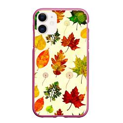 Чехол iPhone 11 матовый Осень цвета 3D-малиновый — фото 1
