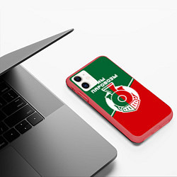 Чехол iPhone 11 матовый Мы паровозы цвета 3D-красный — фото 2