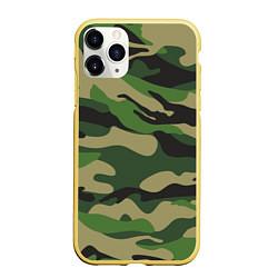 Чехол iPhone 11 Pro матовый Камуфляж: хаки/зеленый цвета 3D-желтый — фото 1
