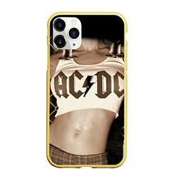 Чехол iPhone 11 Pro матовый AC/DC Girl цвета 3D-желтый — фото 1