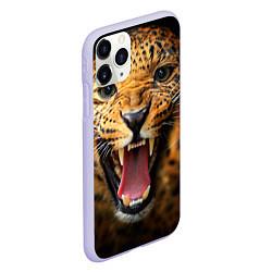 Чехол iPhone 11 Pro матовый Рык леопарда цвета 3D-светло-сиреневый — фото 2