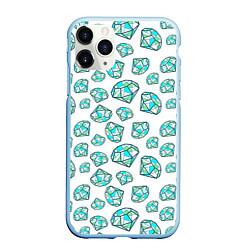 Чехол iPhone 11 Pro матовый Бриллианты цвета 3D-голубой — фото 1