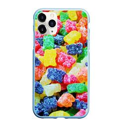 Чехол iPhone 11 Pro матовый Мармеладные мишки цвета 3D-голубой — фото 1