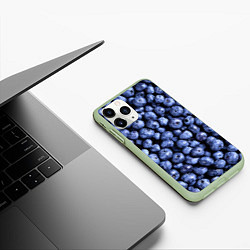 Чехол iPhone 11 Pro матовый Черника цвета 3D-салатовый — фото 2