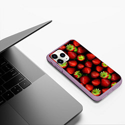 Чехол iPhone 11 Pro матовый Клубничка цвета 3D-сиреневый — фото 2