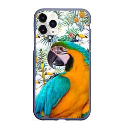 Чехол iPhone 11 Pro матовый Летний попугай цвета 3D-серый — фото 1