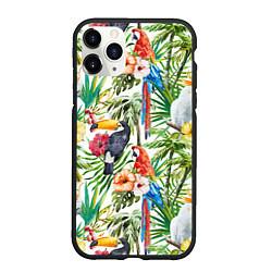 Чехол iPhone 11 Pro матовый Попугаи в тропиках цвета 3D-черный — фото 1