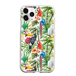 Чехол iPhone 11 Pro матовый Попугаи в тропиках цвета 3D-белый — фото 1