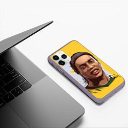 Чехол iPhone 11 Pro матовый Ronaldinho Art цвета 3D-серый — фото 2