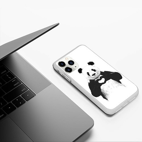 Чехол iPhone 11 Pro матовый Panda Love / 3D-Белый – фото 3