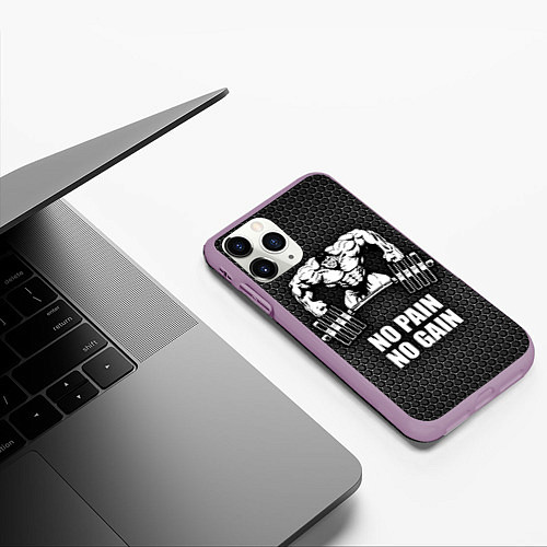 Чехол iPhone 11 Pro матовый No pain, no gain / 3D-Сиреневый – фото 3
