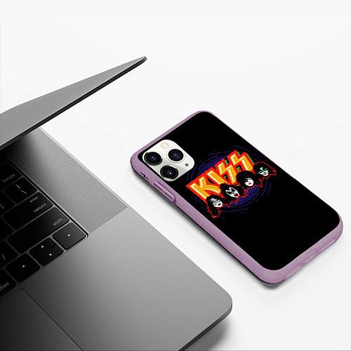 Чехол iPhone 11 Pro матовый KISS: Death Faces / 3D-Сиреневый – фото 3