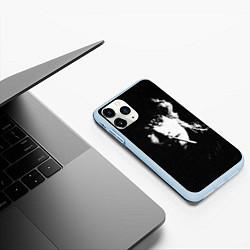 Чехол iPhone 11 Pro матовый Цой с сигаретой цвета 3D-голубой — фото 2