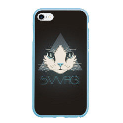 Чехол iPhone 6/6S Plus матовый Cat цвета 3D-голубой — фото 1