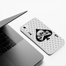 Чехол iPhone 6/6S Plus матовый Смертельный туз цвета 3D-белый — фото 2