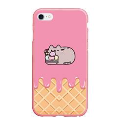 Чехол iPhone 6/6S Plus матовый Pusheen Ice Cream цвета 3D-баблгам — фото 1