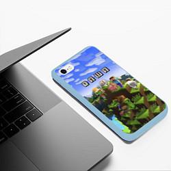 Чехол iPhone 6/6S Plus матовый Minecraft: Даша цвета 3D-голубой — фото 2