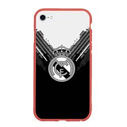 Чехол iPhone 6/6S Plus матовый FC Real Madrid: Black Style цвета 3D-красный — фото 1