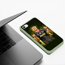 Чехол iPhone 6/6S Plus матовый Ronaldo: Juve Sport цвета 3D-салатовый — фото 2