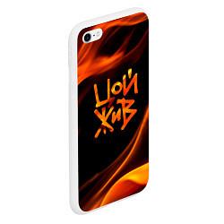 Чехол iPhone 6/6S Plus матовый Цой жив цвета 3D-белый — фото 2