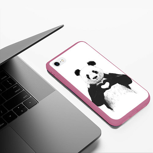 Чехол iPhone 6 Plus/6S Plus матовый Panda Love / 3D-Малиновый – фото 3