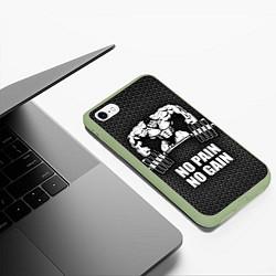 Чехол iPhone 6/6S Plus матовый No pain, no gain цвета 3D-салатовый — фото 2