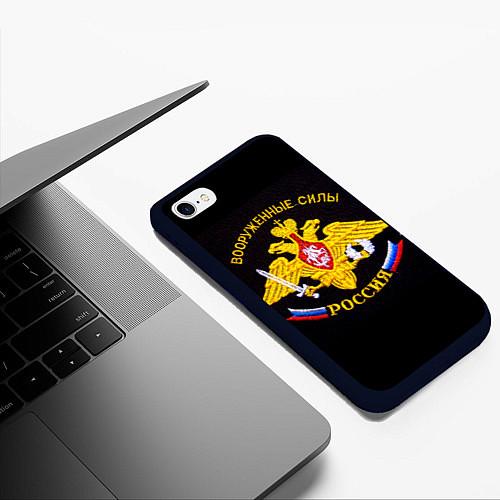 Чехол iPhone 6 Plus/6S Plus матовый ВС России: вышивка / 3D-Черный – фото 3